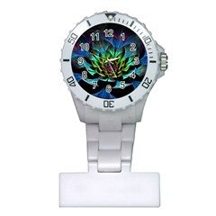 Fractal Flowers Abstract Petals Glitter Lights Art 3d Plastic Nurses Watch