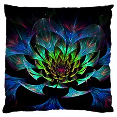 Fractal Flowers Abstract Petals Glitter Lights Art 3d Large Flano Cushion Case (Two Sides)