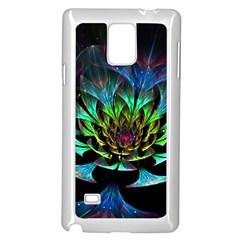 Fractal Flowers Abstract Petals Glitter Lights Art 3d Samsung Galaxy Note 4 Case (White)