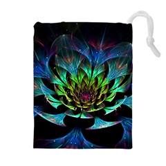 Fractal Flowers Abstract Petals Glitter Lights Art 3d Drawstring Pouches (Extra Large)