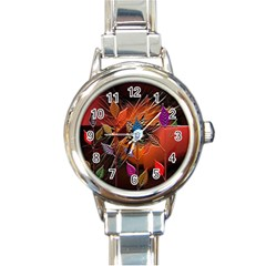 Colorful Leaves Round Italian Charm Watch