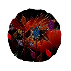 Colorful Leaves Standard 15  Premium Round Cushions