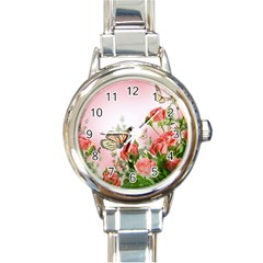 Flora Butterfly Roses Round Italian Charm Watch