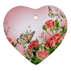 Flora Butterfly Roses Ornament (Heart)