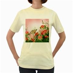 Flora Butterfly Roses Women s Yellow T-Shirt