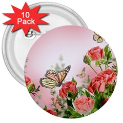 Flora Butterfly Roses 3  Buttons (10 pack)