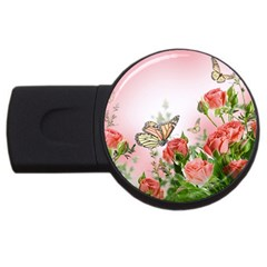 Flora Butterfly Roses USB Flash Drive Round (2 GB)