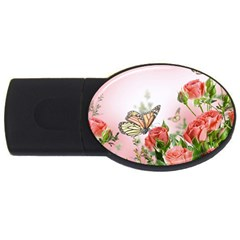 Flora Butterfly Roses USB Flash Drive Oval (1 GB)
