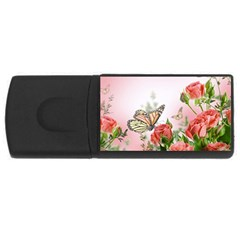 Flora Butterfly Roses USB Flash Drive Rectangular (1 GB)