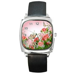 Flora Butterfly Roses Square Metal Watch