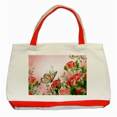 Flora Butterfly Roses Classic Tote Bag (Red)