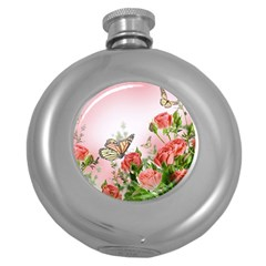 Flora Butterfly Roses Round Hip Flask (5 oz)