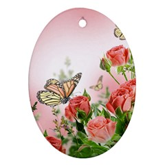 Flora Butterfly Roses Oval Ornament (Two Sides)