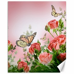 Flora Butterfly Roses Canvas 16  x 20
