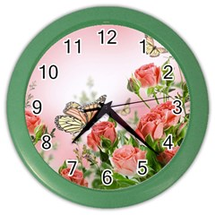Flora Butterfly Roses Color Wall Clocks