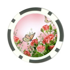 Flora Butterfly Roses Poker Chip Card Guard