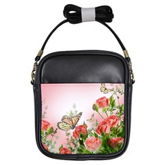 Flora Butterfly Roses Girls Sling Bags