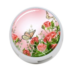 Flora Butterfly Roses 4-Port USB Hub (One Side)