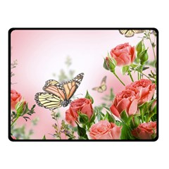 Flora Butterfly Roses Fleece Blanket (Small)