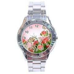 Flora Butterfly Roses Stainless Steel Analogue Watch
