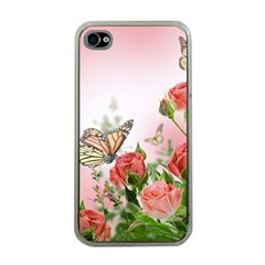 Flora Butterfly Roses Apple iPhone 4 Case (Clear)