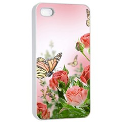 Flora Butterfly Roses Apple iPhone 4/4s Seamless Case (White)