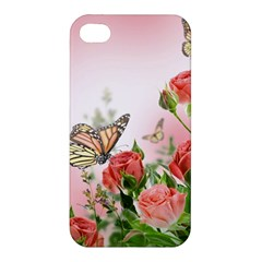 Flora Butterfly Roses Apple iPhone 4/4S Hardshell Case