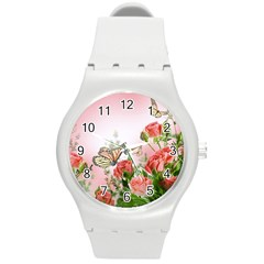 Flora Butterfly Roses Round Plastic Sport Watch (M)