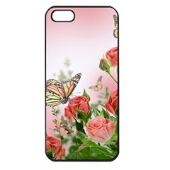 Flora Butterfly Roses Apple iPhone 5 Seamless Case (Black)
