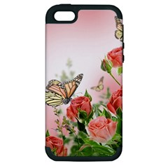 Flora Butterfly Roses Apple iPhone 5 Hardshell Case (PC+Silicone)