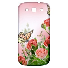 Flora Butterfly Roses Samsung Galaxy S3 S III Classic Hardshell Back Case