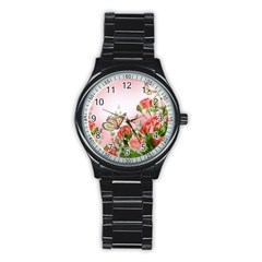 Flora Butterfly Roses Stainless Steel Round Watch