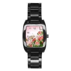 Flora Butterfly Roses Stainless Steel Barrel Watch