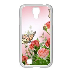 Flora Butterfly Roses Samsung GALAXY S4 I9500/ I9505 Case (White)