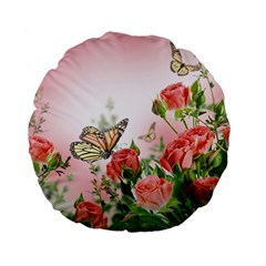 Flora Butterfly Roses Standard 15  Premium Flano Round Cushions