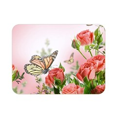 Flora Butterfly Roses Double Sided Flano Blanket (Mini)