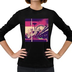 Pink City Retro Vintage Futurism Art Women s Long Sleeve Dark T-Shirts