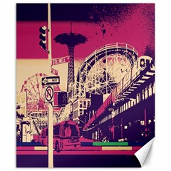 Pink City Retro Vintage Futurism Art Canvas 8  x 10