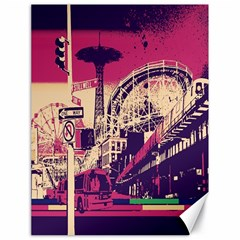 Pink City Retro Vintage Futurism Art Canvas 18  x 24