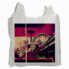 Pink City Retro Vintage Futurism Art Recycle Bag (Two Side)