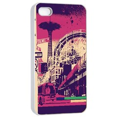 Pink City Retro Vintage Futurism Art Apple iPhone 4/4s Seamless Case (White)