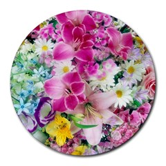 Colorful Flowers Patterns Round Mousepads