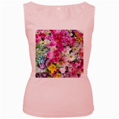 Colorful Flowers Patterns Women s Pink Tank Top