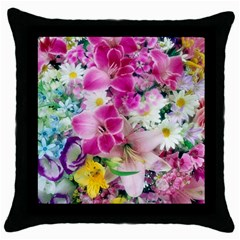 Colorful Flowers Patterns Throw Pillow Case (Black)
