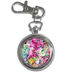 Colorful Flowers Patterns Key Chain Watches