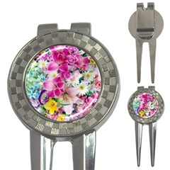 Colorful Flowers Patterns 3-in-1 Golf Divots