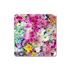 Colorful Flowers Patterns Square Magnet