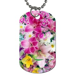 Colorful Flowers Patterns Dog Tag (One Side)