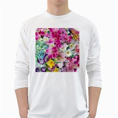 Colorful Flowers Patterns White Long Sleeve T-Shirts