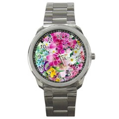 Colorful Flowers Patterns Sport Metal Watch